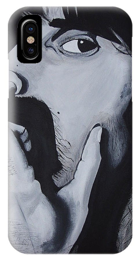 Black And White IPhone X / XS Case featuring the painting Franklyz by Dean Stephens