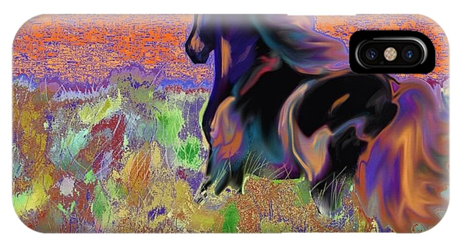 Horse IPhone X Case featuring the painting Free To Run Fire by Marie Clark