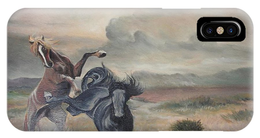 Animal IPhone X Case featuring the painting Freedom by Sorin Apostolescu