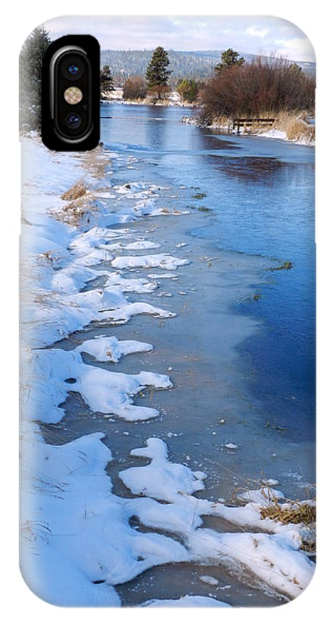 Winter IPhone X Case featuring the photograph Freeze On The Descutes by Carolyn Waissman