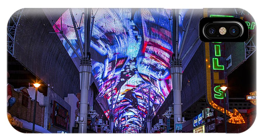 Las Vegas IPhone X Case featuring the photograph Fremont Street Lights by Angus Hooper Iii