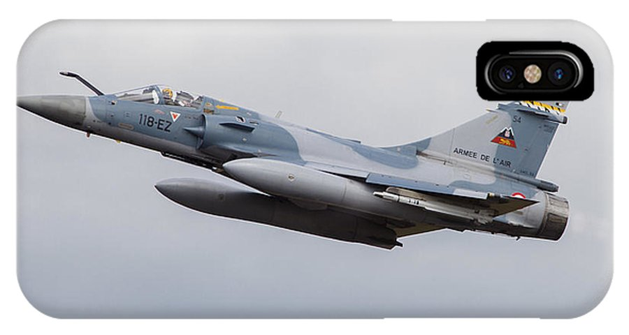 Germany IPhone X Case featuring the photograph French Air Force Mirage 2000c Fighter by Timm Ziegenthaler