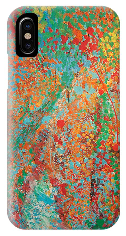 Abstract IPhone X Case featuring the painting Fresh Dots by Gabe Arroyo
