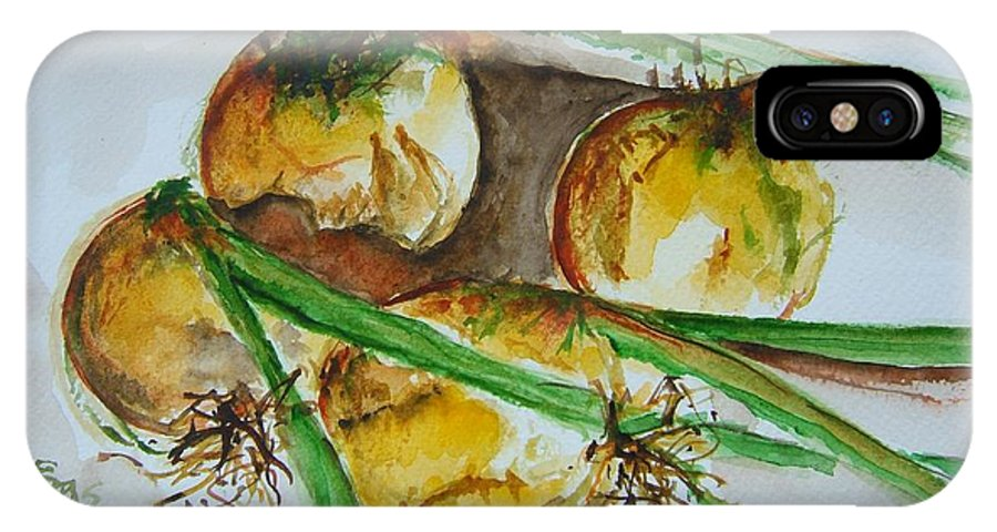 Garden Vegetable IPhone X Case featuring the painting Fresh Onions by Elaine Duras