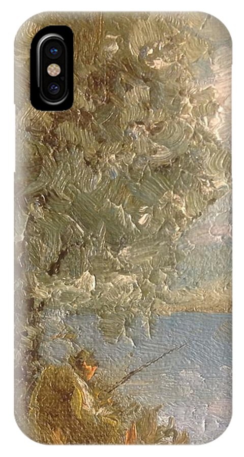Fisherman IPhone X Case featuring the painting Friday by Timothy H Mills