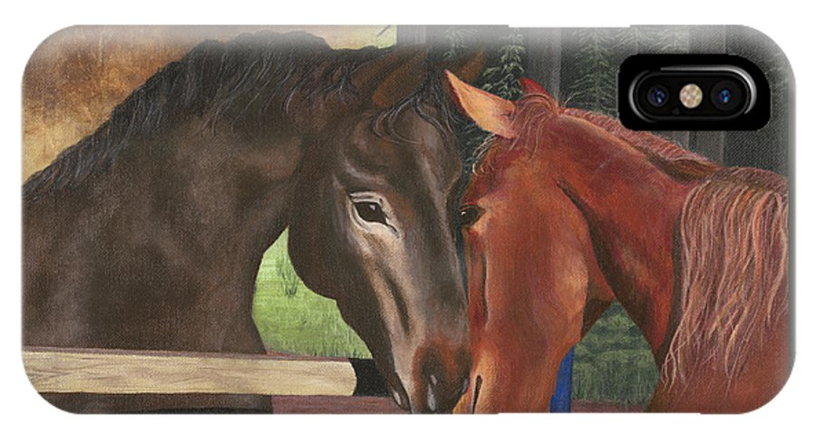 Horses IPhone X Case featuring the painting Friends by Sandy Jasper