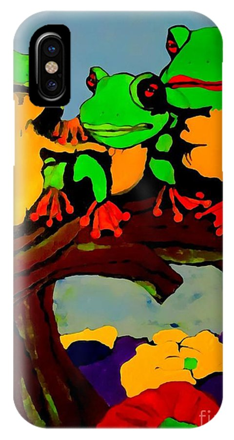 Frog IPhone X Case featuring the painting Frog Family Hanging Out On A Limb by Saundra Myles