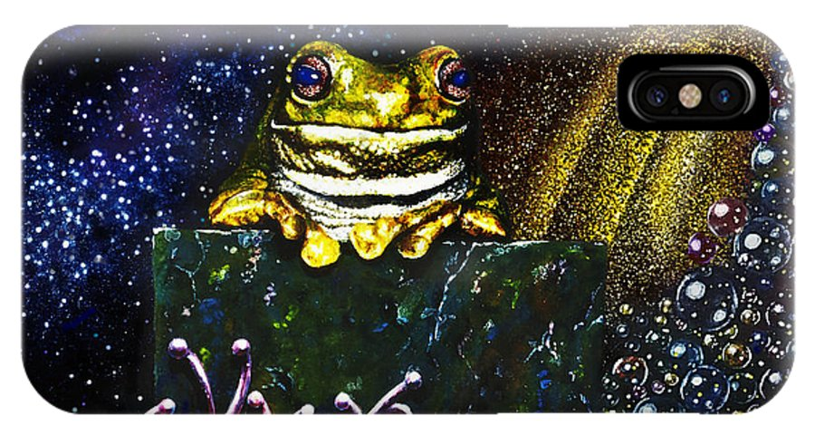 Frog IPhone X Case featuring the painting Frog King by Hartmut Jager