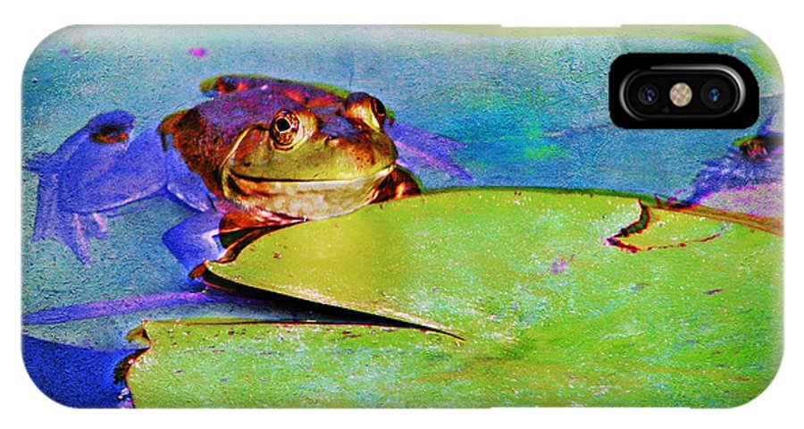 Frog IPhone X / XS Case featuring the photograph Frog - On A Water Lily Pad by Nikolyn McDonald
