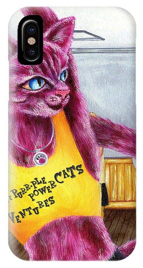 Cat Illustration IPhone X Case featuring the painting From Purple Cat Illustration 15 by Hiroko Sakai