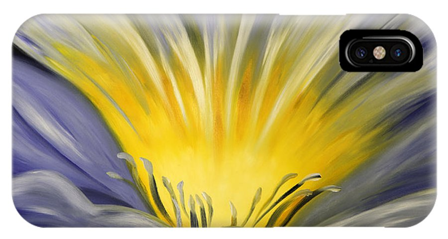 Blue IPhone Case featuring the painting From The Heart Of A Flower Blue by Gina De Gorna