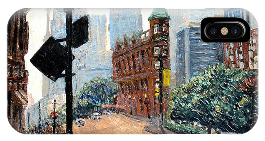 Toronto IPhone X Case featuring the painting Front And Church by Ian MacDonald