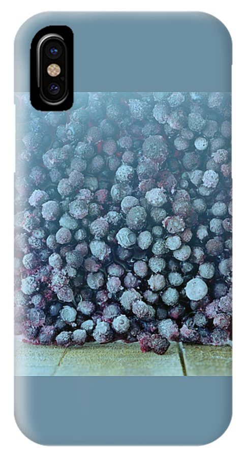 Berries IPhone X Case featuring the photograph Frozen Blueberries by Romulo Yanes
