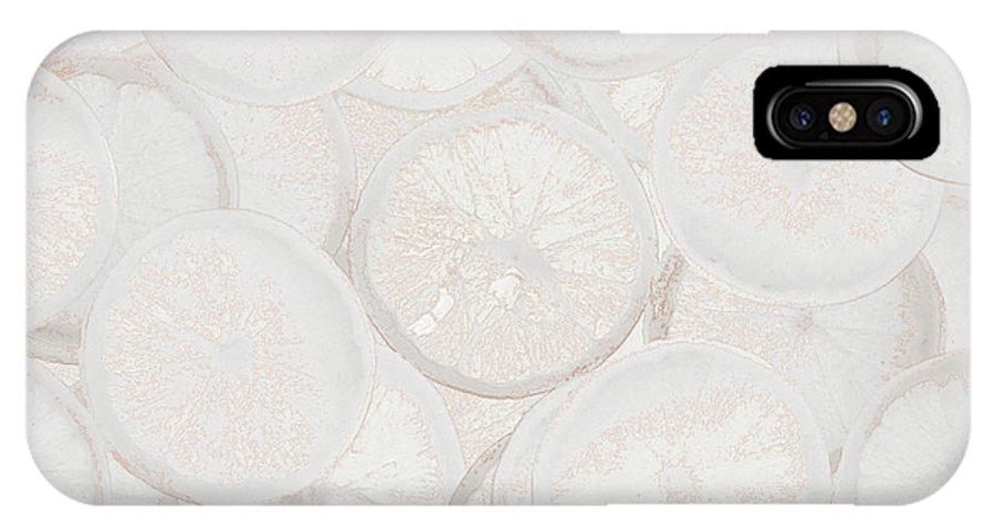 Frozen IPhone X / XS Case featuring the digital art Frozen Orange by Mando Xocco