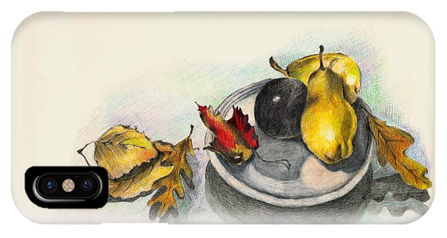 Fruit IPhone X Case featuring the drawing Fruit and Autumn Leaves by Judy Swerlick