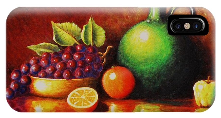 Still Life... Jug IPhone X Case featuring the painting Fruit And Jug by Gene Gregory