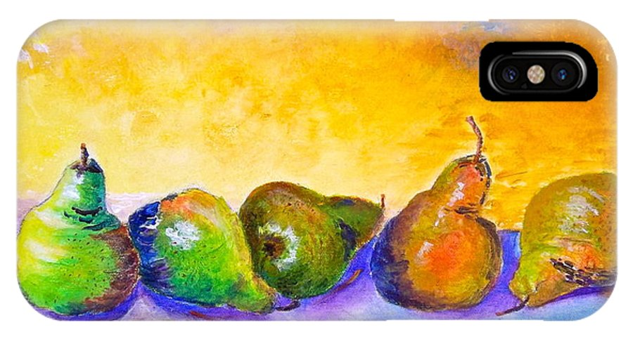 Pear IPhone X Case featuring the painting Fruity Pearfection by Kathryn G Roberts