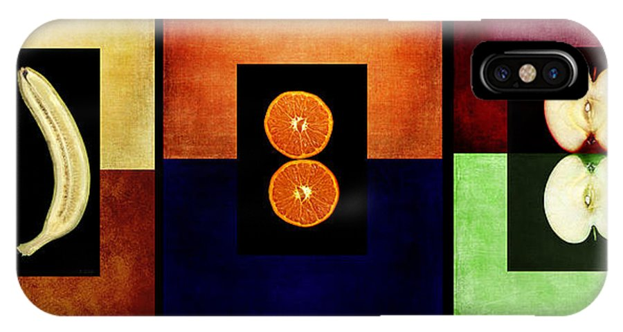 Triptych IPhone X / XS Case featuring the digital art Fruity Triptych by Fran Riley