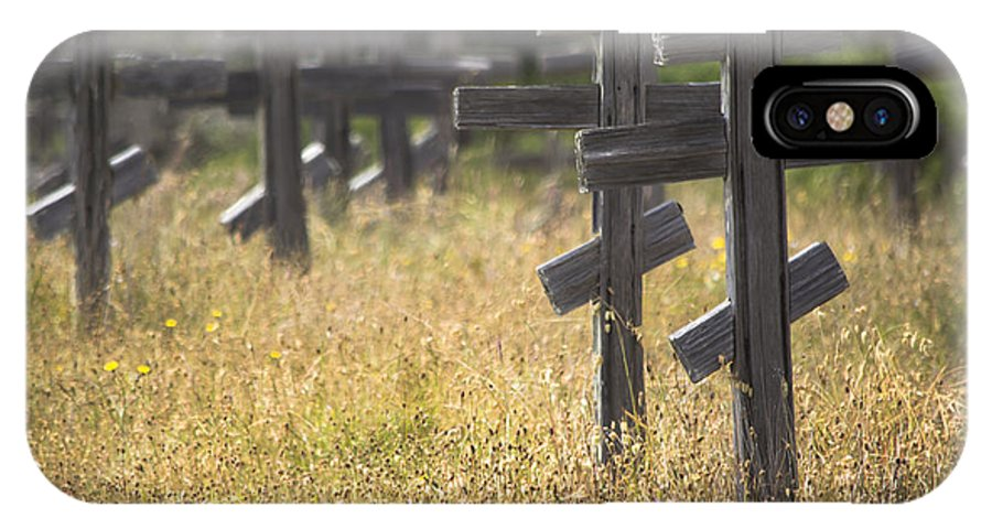 Headstones IPhone X Case featuring the photograph Ft. Ross Cemetary by Beth Sanders