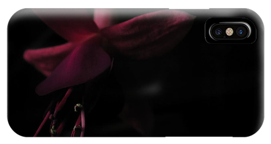 Fuchsia IPhone X Case featuring the photograph Fuchsia Blossom Dark Close-up by Kathi Shotwell