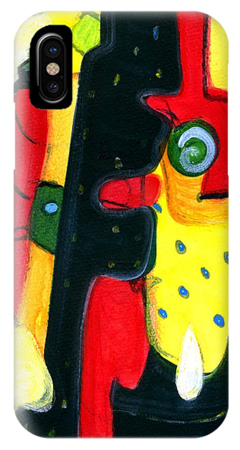 Abstract Art IPhone X Case featuring the painting Fuego by Stephen Lucas