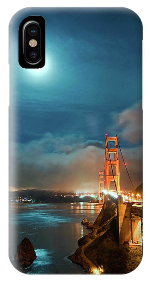 Goldengate IPhone X Case featuring the photograph Full Moon And Fog Over The Golden Gate Bridge by Michael Ayers