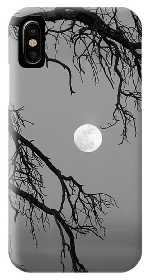 Full Moon IPhone X Case featuring the photograph Full Moon Old Snag by Barbara Henry