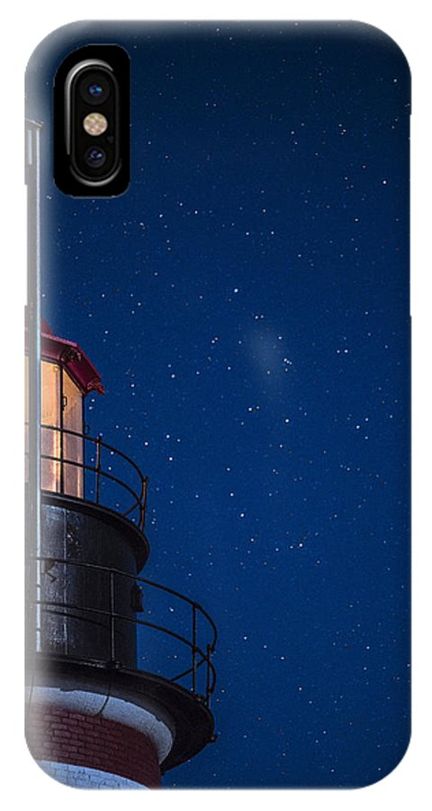 West Quoddy Head Lighthouse IPhone X Case featuring the photograph Full Moon On Quoddy No 2 by Marty Saccone