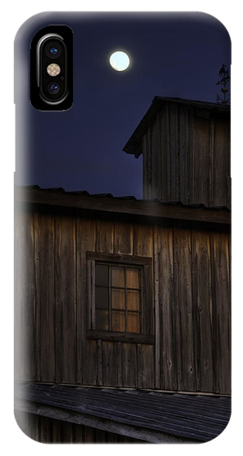 Full Moon IPhone X Case featuring the photograph Full Moon Over Barn by Jay Droggitis