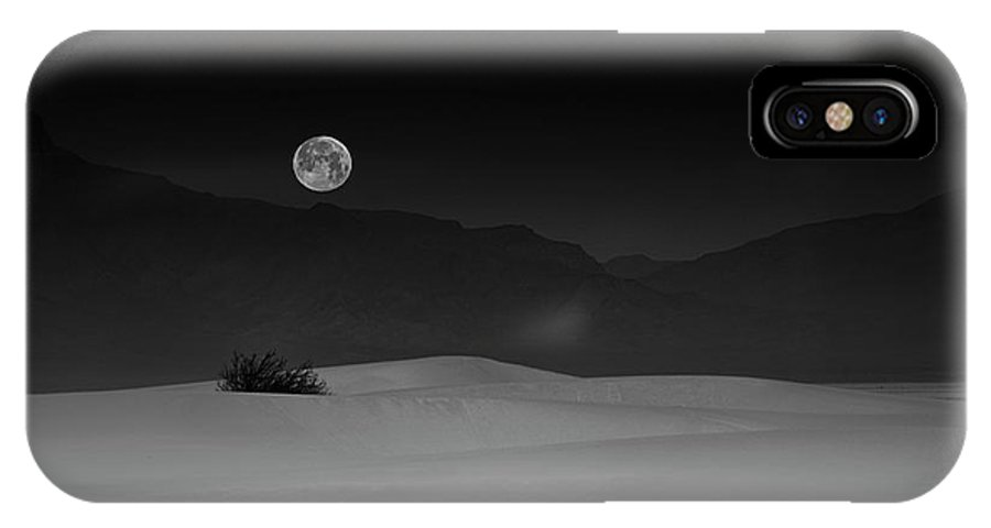 Night IPhone X Case featuring the photograph Full Moon Over White Sands by Lydia Jacobs
