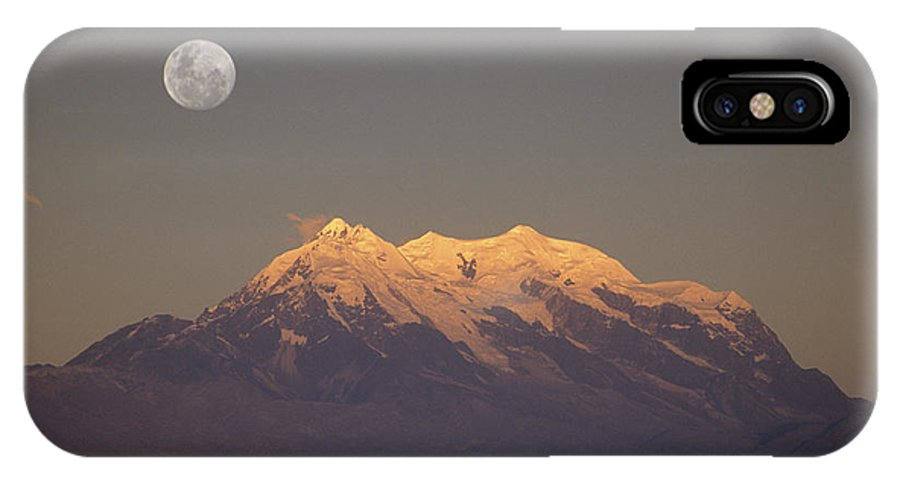 Bolivia IPhone X Case featuring the photograph Full Moon Rise Over Mt Illimani by James Brunker