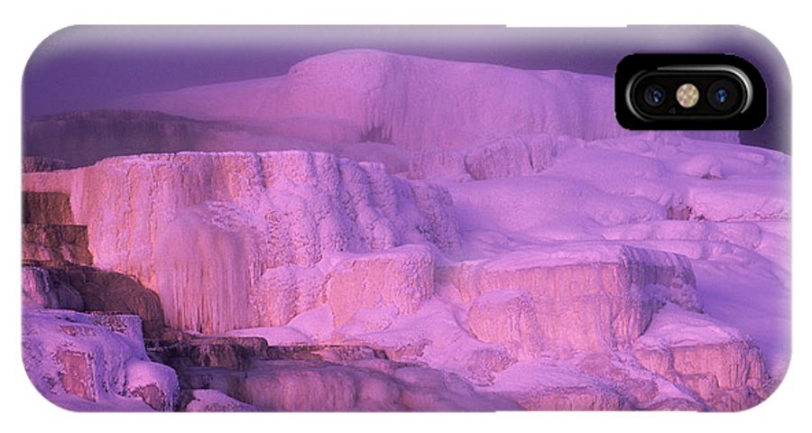 North America IPhone X Case featuring the photograph Full Moon Sets Over Minerva Springs On A Winter Morning Yellowstone National Park by Dave Welling