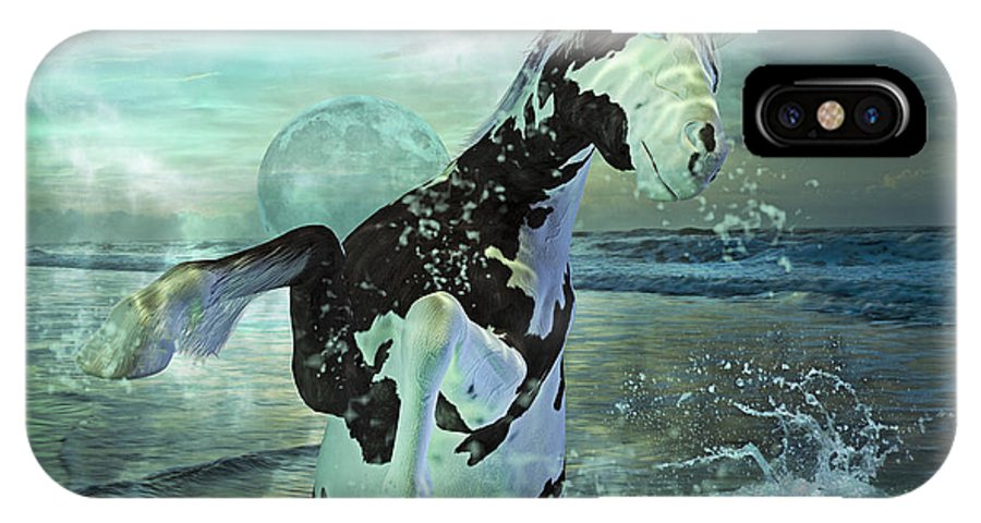 Horse IPhone X Case featuring the mixed media Full Moon Twist And Shout by Betsy Knapp