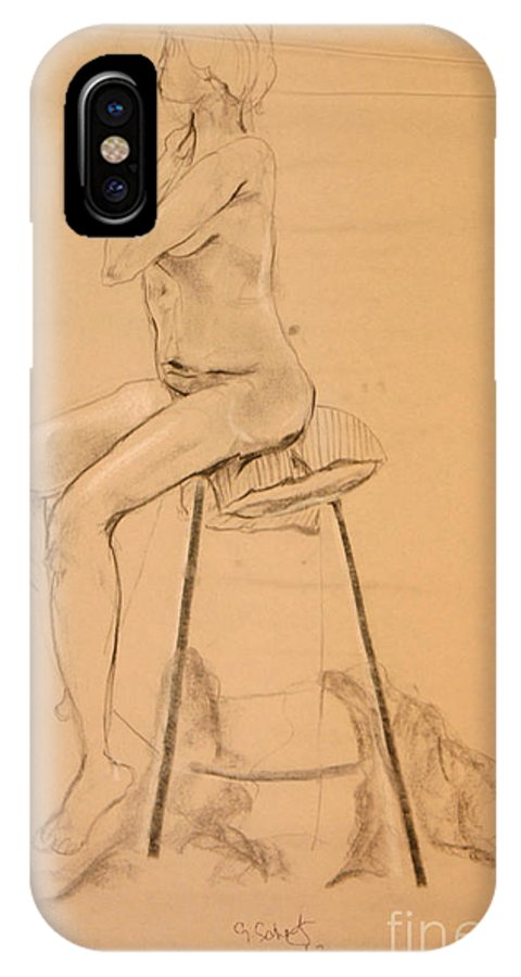 IPhone X Case featuring the digital art Full Nude Profile by Gabrielle Schertz