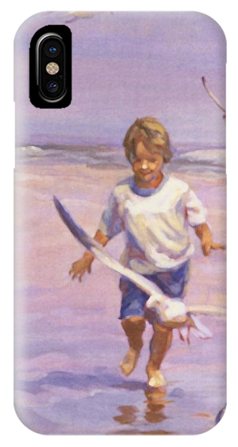 Beach Prints Prints IPhone X Case featuring the painting Fun And Games by Lucelle Raad