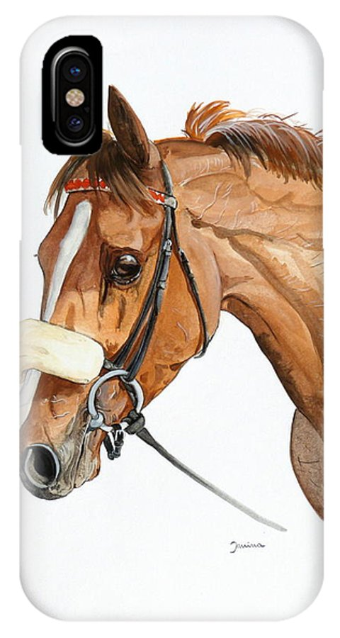 Horse Original Painting IPhone Case featuring the painting Funny Face by Janina Suuronen