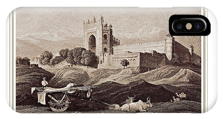 Space IPhone X Case featuring the painting Futtepore Sikri - Agra by Santi Arts