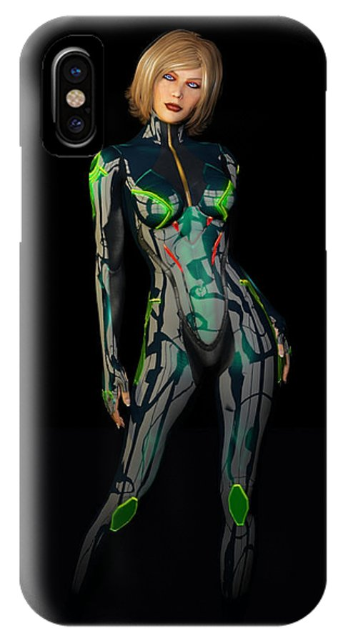 Woman IPhone X Case featuring the digital art Future Woman... by Tim Fillingim
