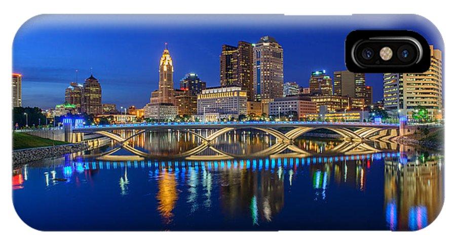 Columbus IPhone X Case featuring the photograph Fx2l530 Columbus Ohio Night Skyline Photo by Ohio Stock Photography