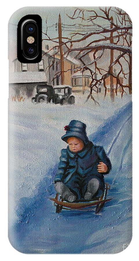 Snow Scene IPhone X Case featuring the painting Gails Christmas Adventure by Lora Duguay