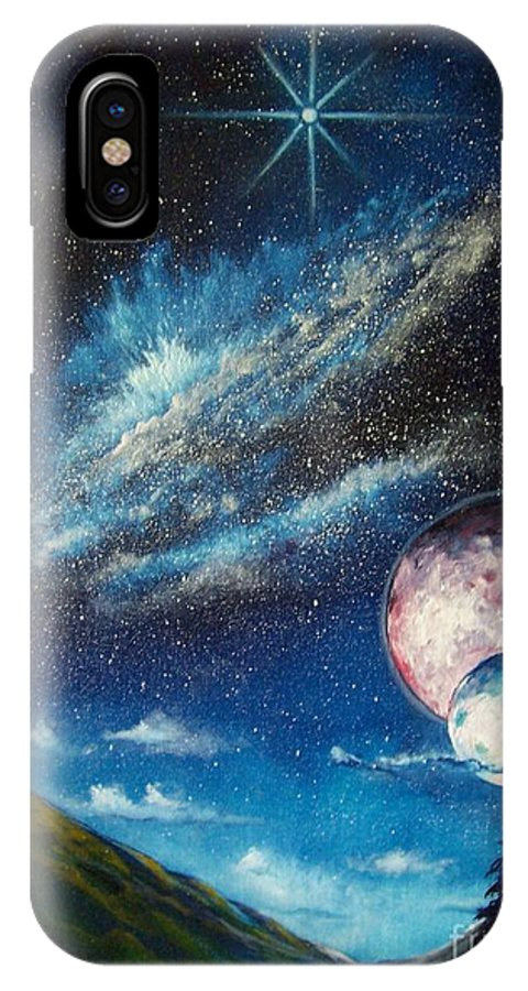 Space Horizon IPhone X Case featuring the painting Galatic Horizon by Murphy Elliott