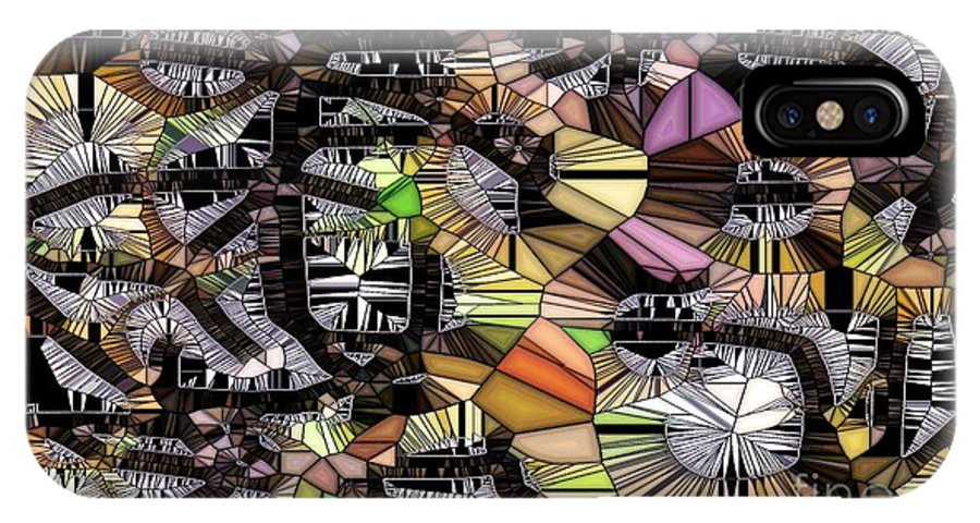 Abstract IPhone X Case featuring the digital art Game Board by Ron Bissett
