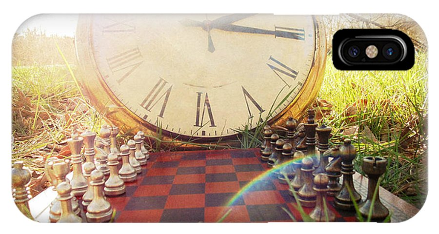 Old Pocket Watch IPhone X Case featuring the photograph Game Of Chess by Emily Mozingo