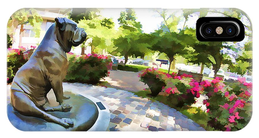 The Philadelphian Philadelphia Dog Park Statue Gamekeepers Roses IPhone X Case featuring the photograph Gamekeepers Dog Park by Alice Gipson