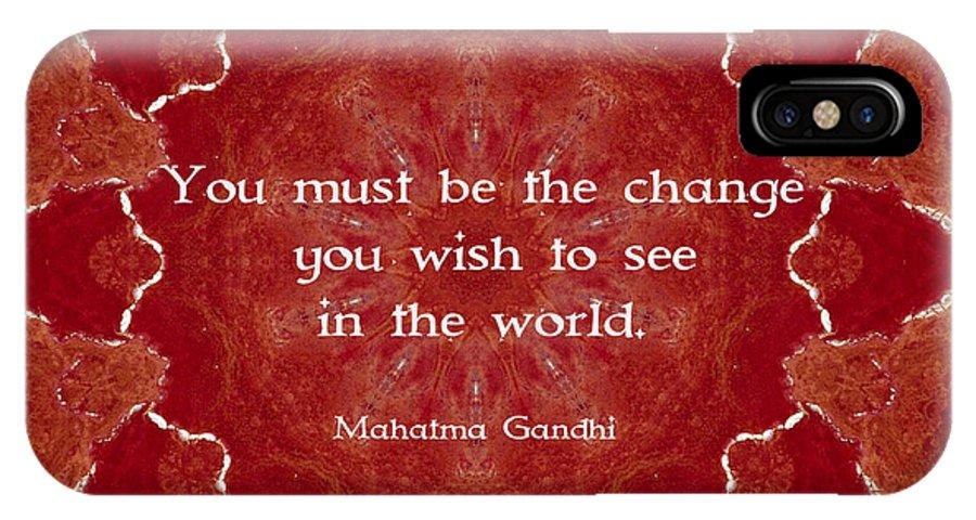 Mohandas Karamchand Gandhi IPhone X Case featuring the digital art Gandhi Wisdom Saying About Action by Quintus Wolf