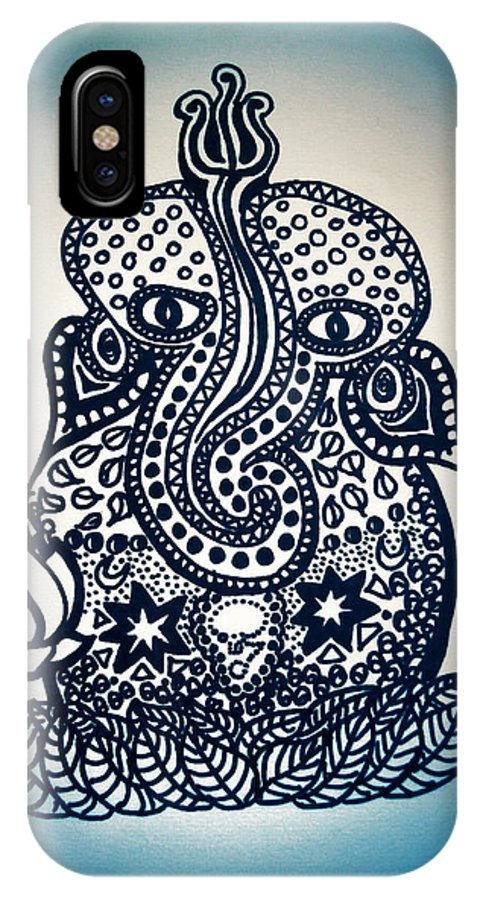 Doodle IPhone X / XS Case featuring the digital art Ganesh by Vamika Andy