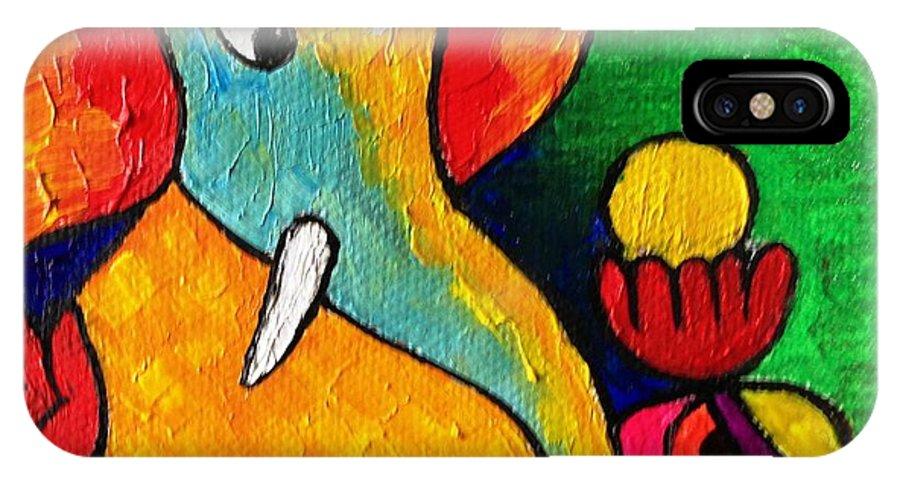 Ganesh IPhone X Case featuring the painting Ganesha by Saneesha Lingala