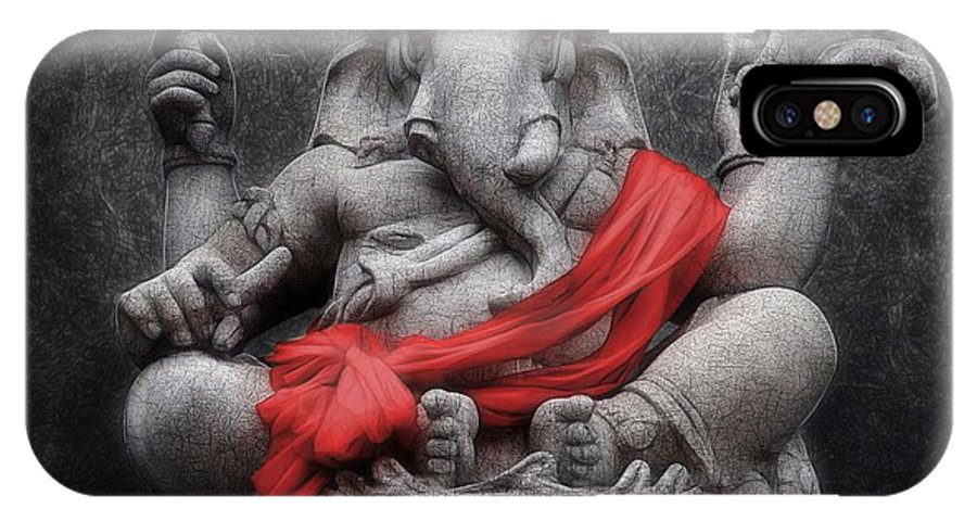 Ganesha IPhone X Case featuring the digital art Ganesha V.1 by Sippapas Thienmee