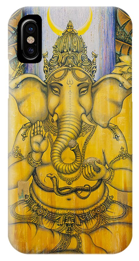 Ganesha IPhone X Case featuring the painting Ganesha by Vrindavan Das