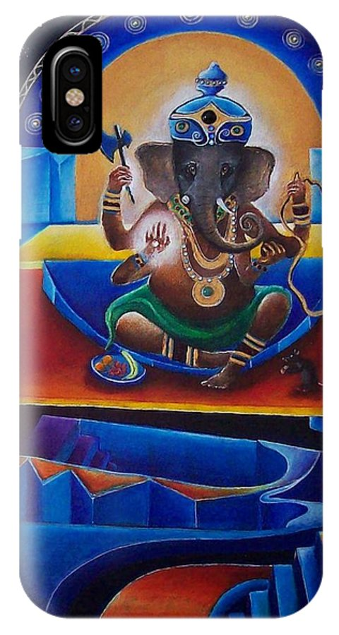 Ganesha IPhone X Case featuring the painting Ganesha by Wolfgang Schweizer